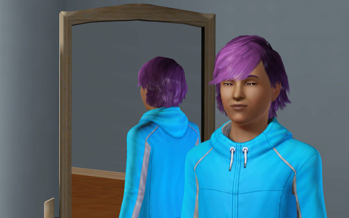 CAS of Basil in his teal sweatshirt and swept back purple hair.
