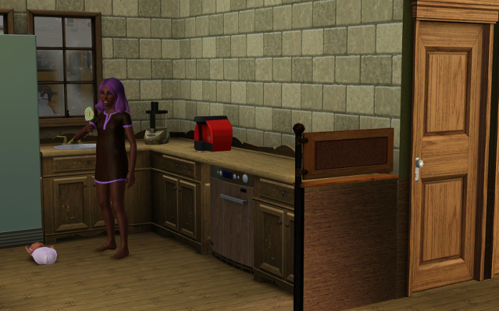 I forgot Rebecca was evil. She Loves to take Fleur out of her crib just to steal candy.