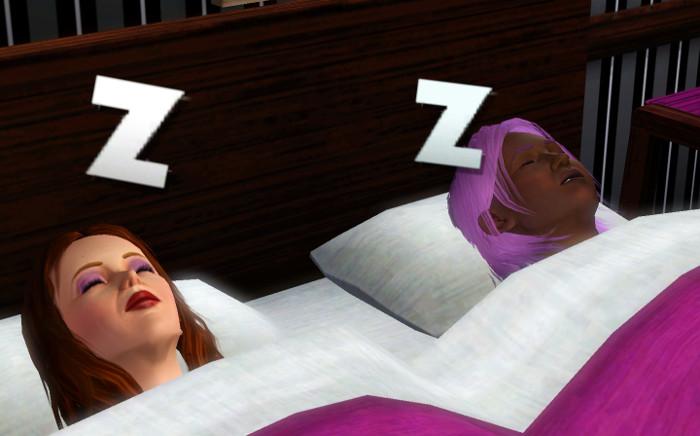 Melville sleeps next to Cheri.