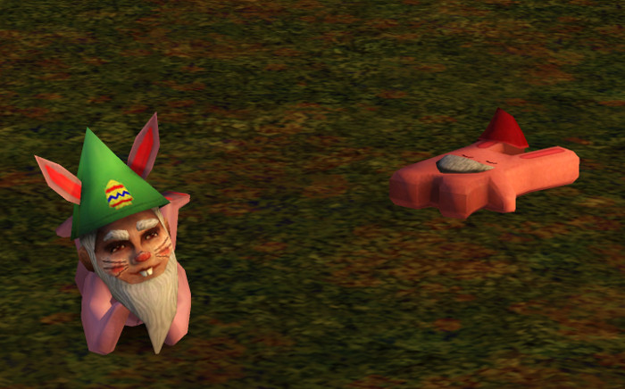 A bunny gnome in a green egg hat lounges next to the freezer bunny who is sunning itself nearby.