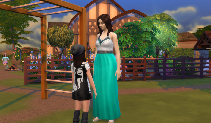 Evelyn tells her mother about her adventures on the monkey bars.