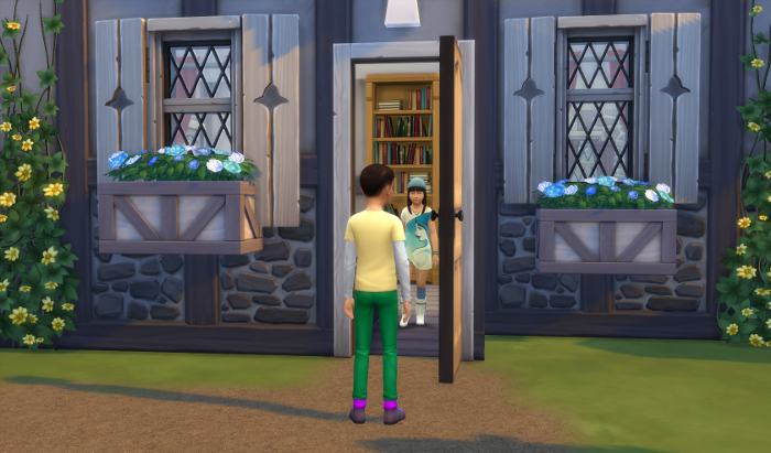Elisa appears at the door. A boy in a yellow shirt and green pants is at the door (not the same as the other boy).