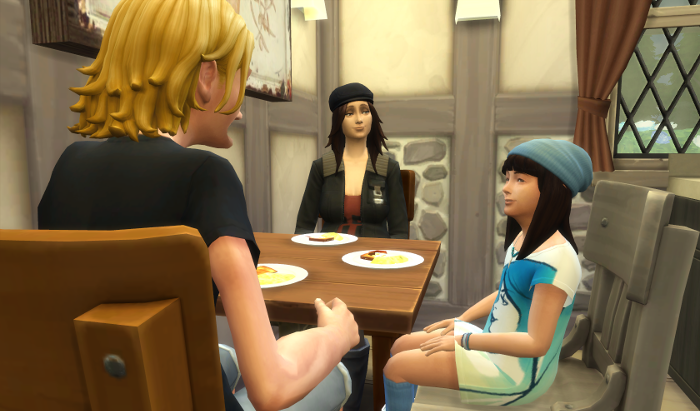 Sam and Elisa and Karen (now in her work clothes) all sit at the table eating and talking.