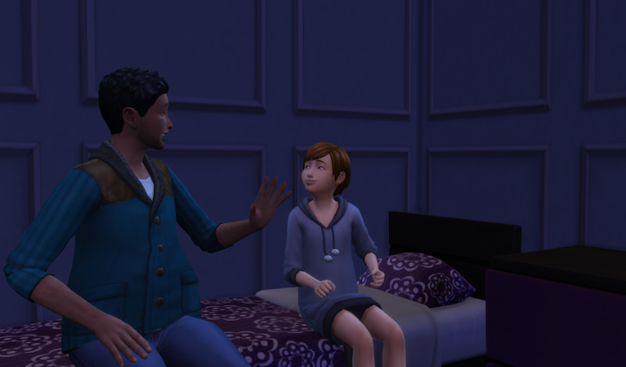 Julia and Hank are sitting on her bed chatting.