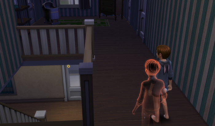 Julia and James sneak down the hallway. The light is on downstairs.