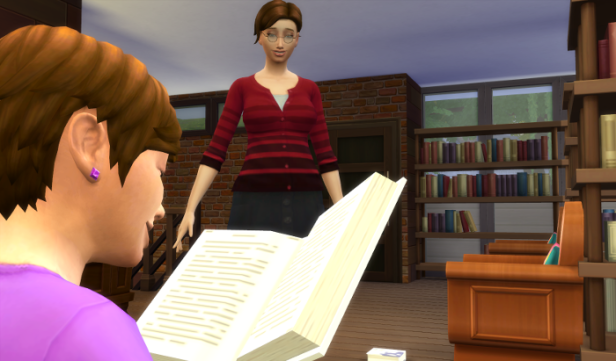 Julia is reading a book. Her mom is approaching.