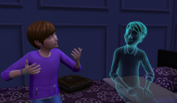 Julia and James are talking while sitting on her bed. The book sits nearby.