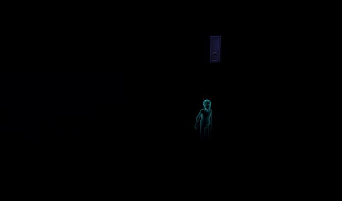 James in the Darkness. Behind him - quite distant, is the door.