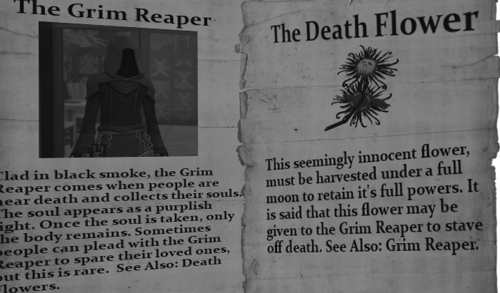 The page from the book about the grim. On the opposite side is a page about death flowers and how they may be used to stave off death.