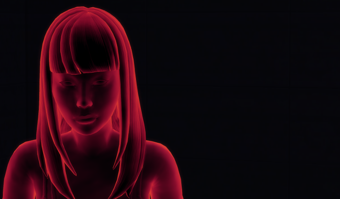 The female ghost is red (opposed to Jame's blue), has bangs, long hair, and is wearing a short dress.