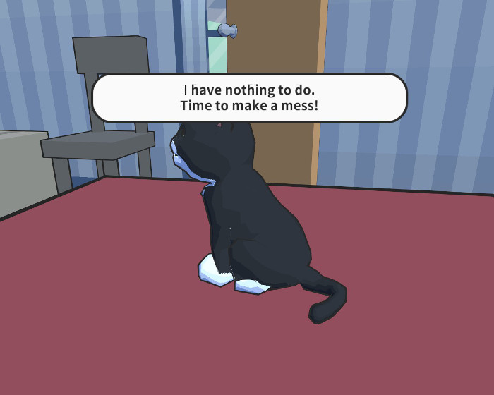 """A black cat sits on the bed. It """"says"""" - I have nothing to do. Time to make a mess!"""