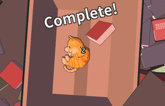 """An orange tabby sleeps in a box. """"Complete"""" is written over it's head."""