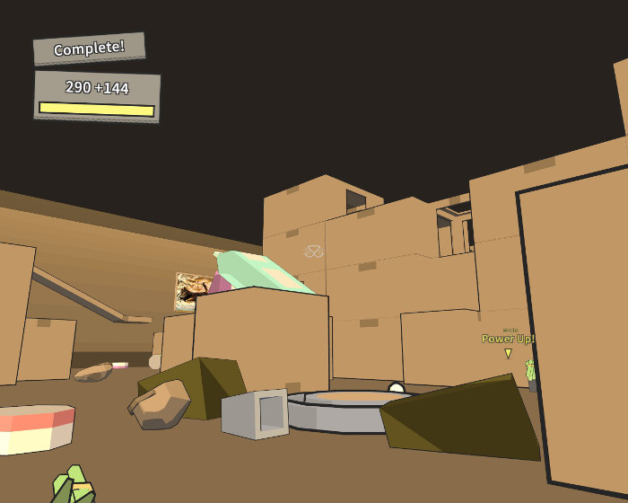 We unlocked kitty paradise, a land of carboard boxes, toy mice, plants, and tons of powerups.