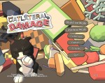 Title screen for Catlateral Damage game - a cat looking poised with a lot of clutter falling behind it.