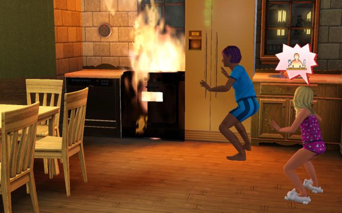 Basil set the stove on fire.