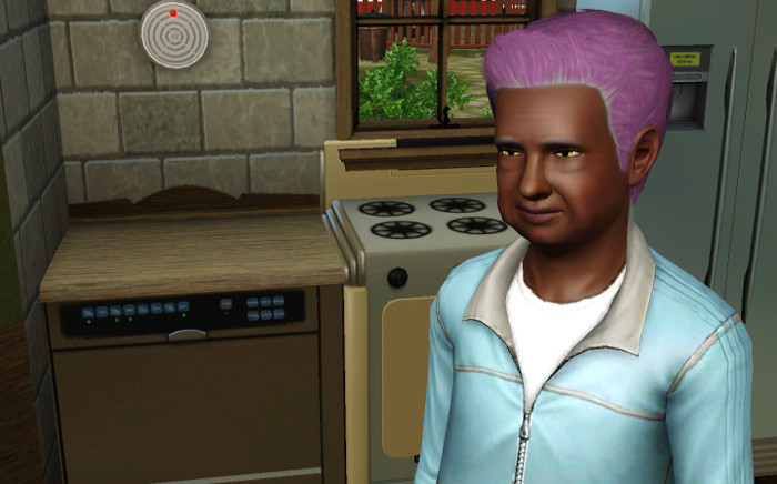 Melville has slightly greyed purple hair.