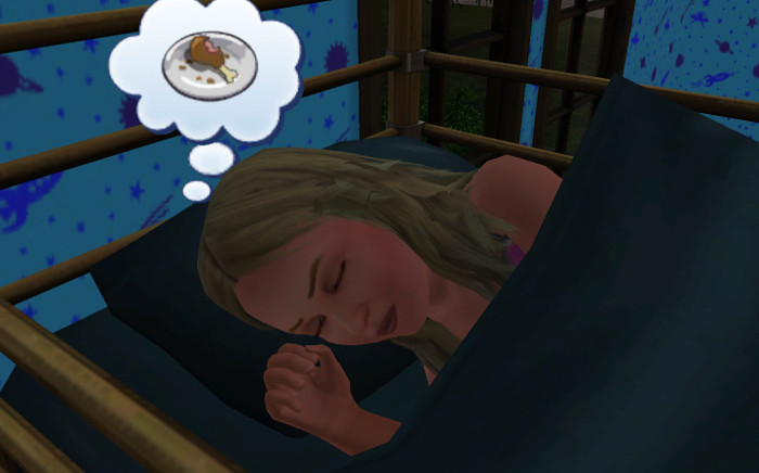 Fleur asleep. Her thought bubble is food.