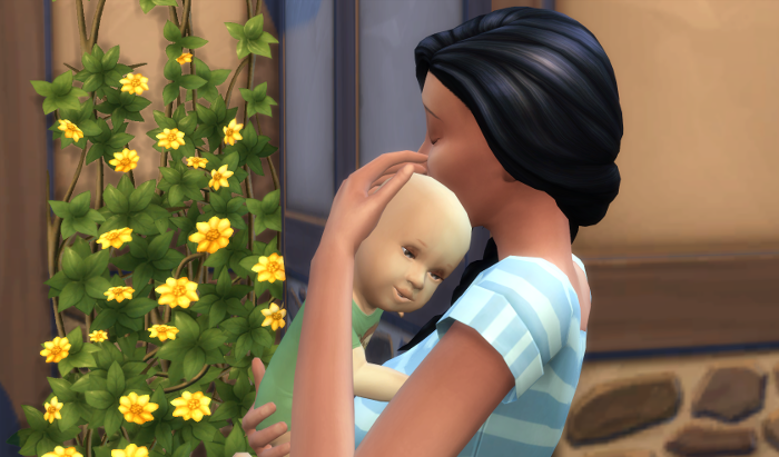 "But most of the time pictures of sims don't feel like ""camera"" shots. (I include this because there is a picture of infant-me and my mum in this pose irl)."