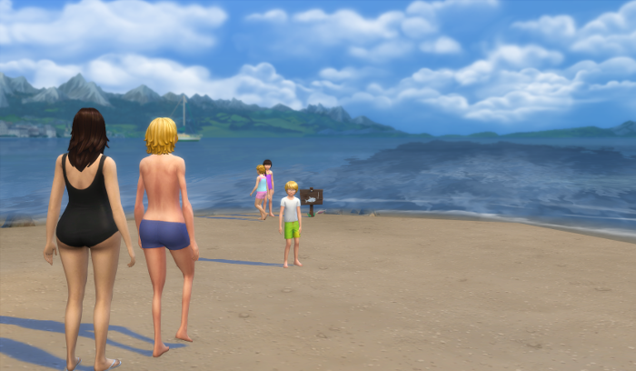 I ended up setting them in swimwear and putt them loose on the beach.