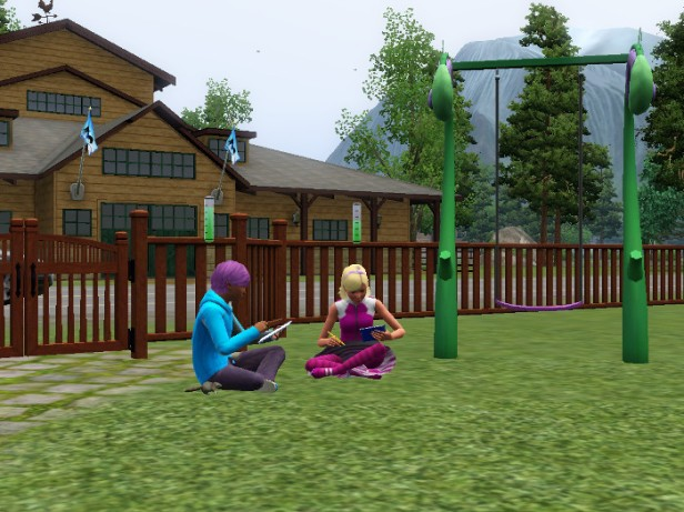 Basil and Fleur doing homework in the yard. The houses are different from their previous neighbors.