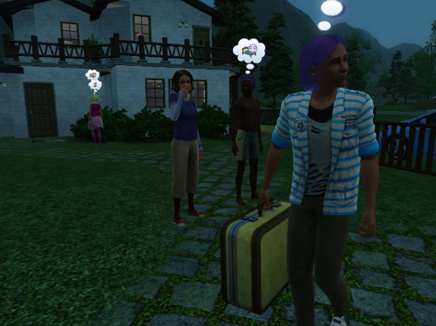 Basil walks off with his suitcase, Mom and Dad are seeing him off. (Sister Fleur is already heading back to the house).