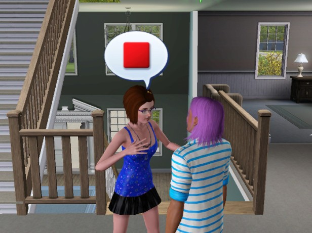 The girl in the blue halter chats with Basil. A red color square in her speech bubble.