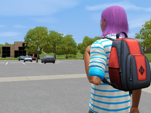 Basil, backpack swung over one shoulder, approaches the campus.
