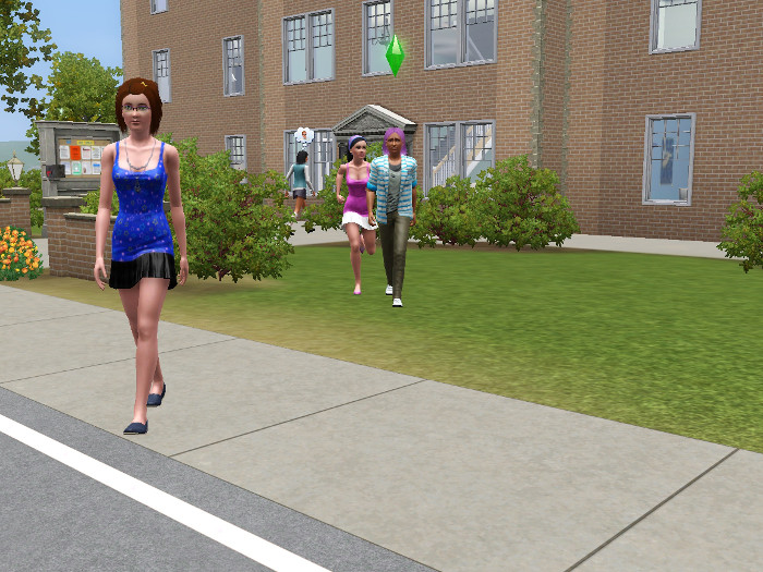 Basil exits the class, blue halter girl, the original mini skirt girl, and a new girl in a pink halter wander around the campus.