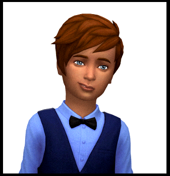 Boy with tossled hair - Julia's color, but Bre's sense of style, in a formal setting. He's got a bit of a smirk.