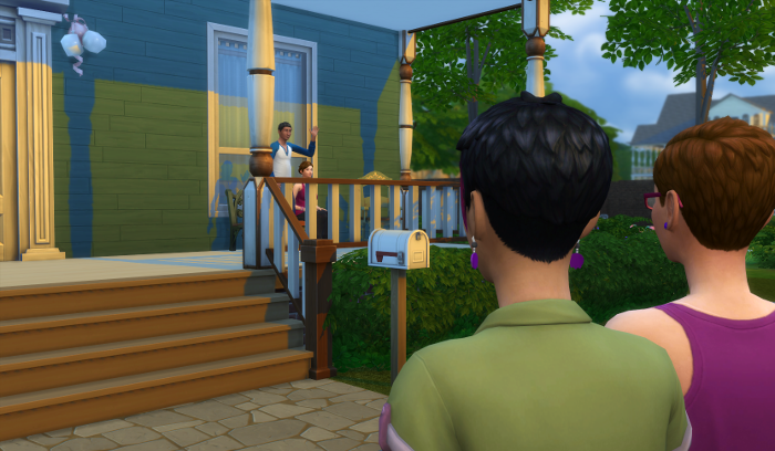 Hank and Sofia are on the porch as Julia and Bre arrive.