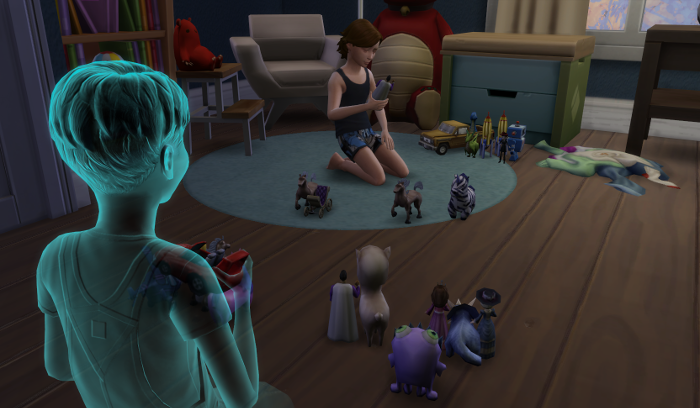 "James's ""army"" is all lined up. Max's is still scattered. Max is looking sadly down at the toy in his hand."