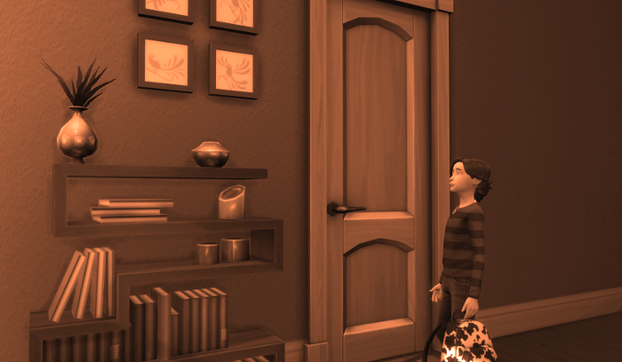 Sepia Memory picture of Max in front of his parents' door. He is frowning.
