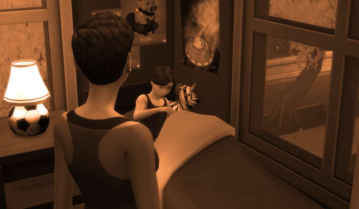 Another Sepia Memory. This time Julia is tucking Max into bed.