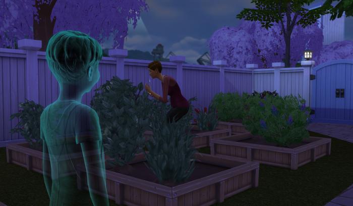 Julia in her garden crying. James is watching,.