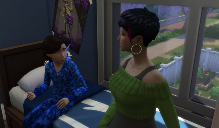 Max is talking to Bre. They are still sitting on the bed.