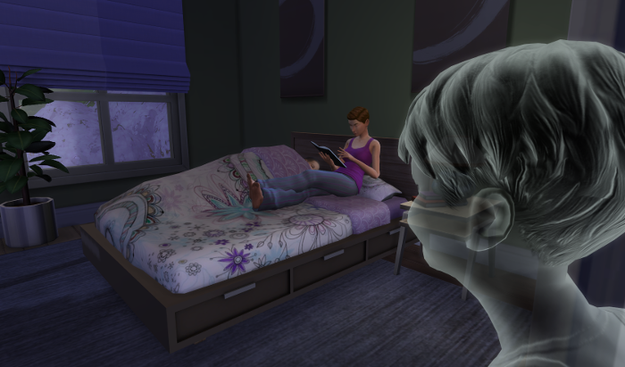 Julia is sitting on the bed reading a book. James is watching. He is pale grey.