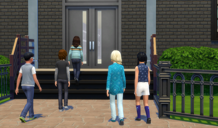 Max enters his school although with the other students.
