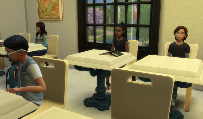 Max and Billie are sitting in class waiting for it to start.