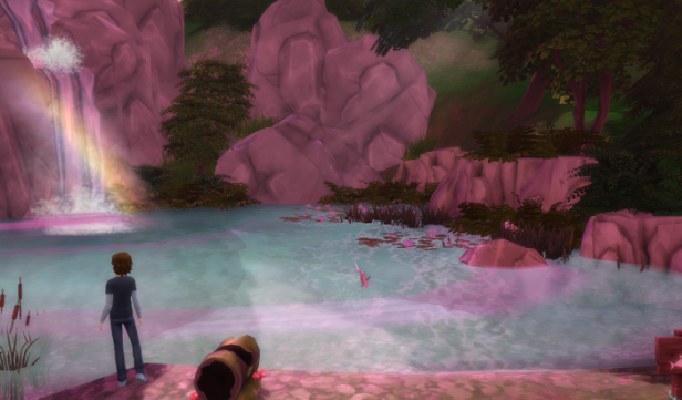 Max looking over a rainbow shrouded pond. A waterfall in the back, a fish jumps to his right.