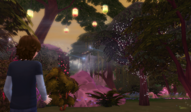Max is looking around a magical glade. Trees and lights are everywhere. The area is bathed in mist and soft light.
