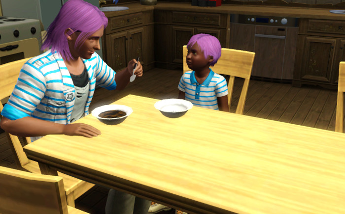 Sage and Basil at the kitchen table. Sage is wearing a similarly striped blue shirt to Basil. They both have their father's lavender hair. They could almost be twins.