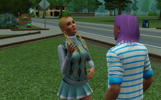 Basil is chatting with a blonde in a short short skirt.