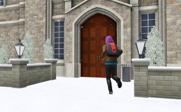 Basil runs into the school - it is deep winter.