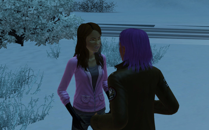 Basil chats with a pale girl in the snow, at night.