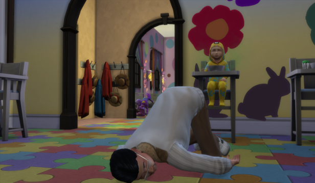 Guppy Pigglewiggle is collapsed on the floor, a toddler watches from the highchair.