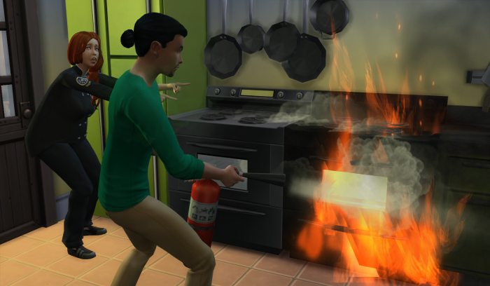 Guppy attempts to extinguish the fire. While the unhelpful caterer just points uselessly.