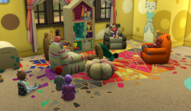 Guppy has finished reading to a small crowd and is face down in the center of the reading nook. Raerei, Arturo, and Shannon sit on the bear chairs, while Adam, Mina, and Penelope sat on the floor. They haven't quite figured out he's down for the count.