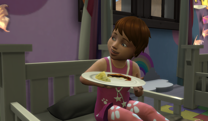 Julia sits on her bed eating some bacon and eggs. She wears a pink and white sundress.