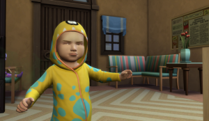 Raerei wears the yellow monster onesie - when she's not in overalls. She is looking distinctly annoyed.
