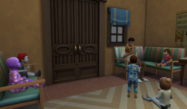 Guppy is reading in the front room to Mina and Adam, Raerei, Cocoa and Penelope.
